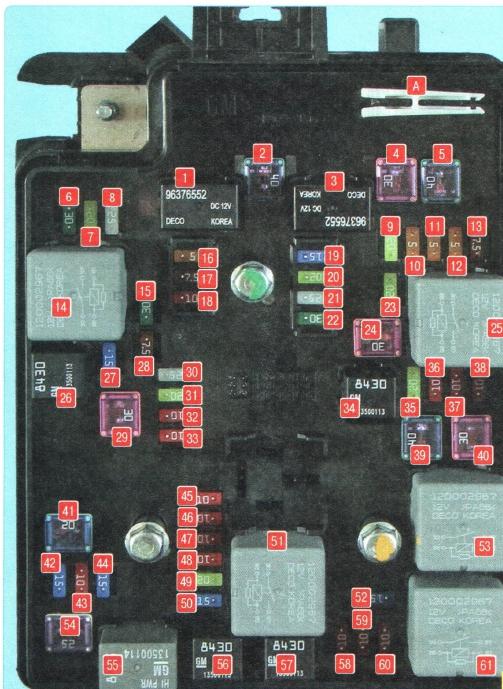 схема реле и предохранителей шевроле авео т300 под капотом