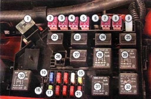 схема реле под капотом шевроле ланоса