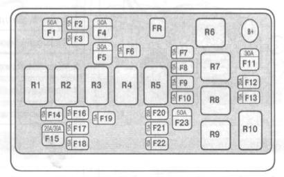 схема реле авео т250 под капотом