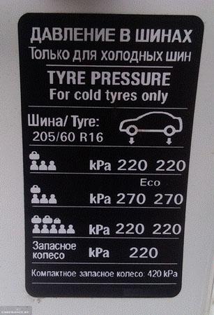 Таблица давления шин Шевроле Круз